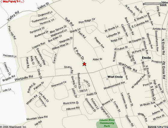 Map of 354 East Penn Drive, Enola, PA 17025